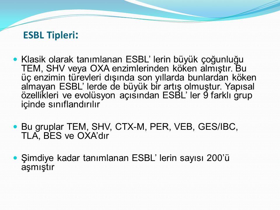 ESBL Tipleri : Klasik olarak tanımlanan ESBL' lerin büyük çoğunluğu TEM, SHV veya OXA enzimlerinden köken almıştır. Bu üç enzimin türevleri dışında so