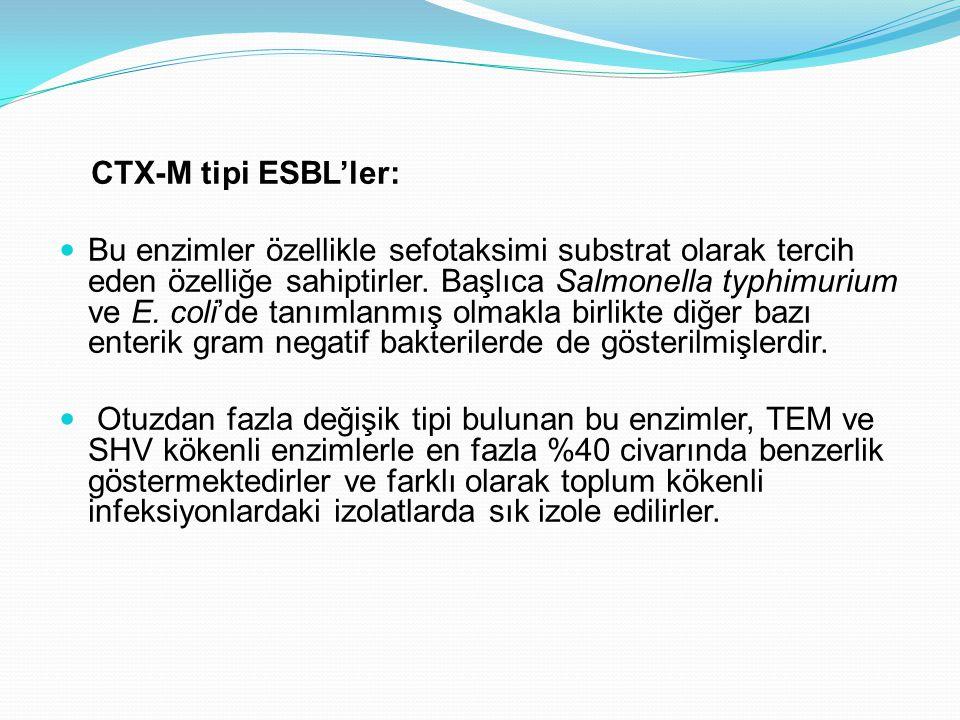 CTX-M tipi ESBL'ler: Bu enzimler özellikle sefotaksimi substrat olarak tercih eden özelliğe sahiptirler. Başlıca Salmonella typhimurium ve E. coli'de