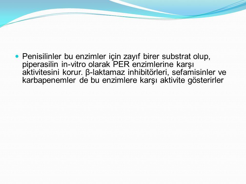 Penisilinler bu enzimler için zayıf birer substrat olup, piperasilin in-vitro olarak PER enzimlerine karşı aktivitesini korur.