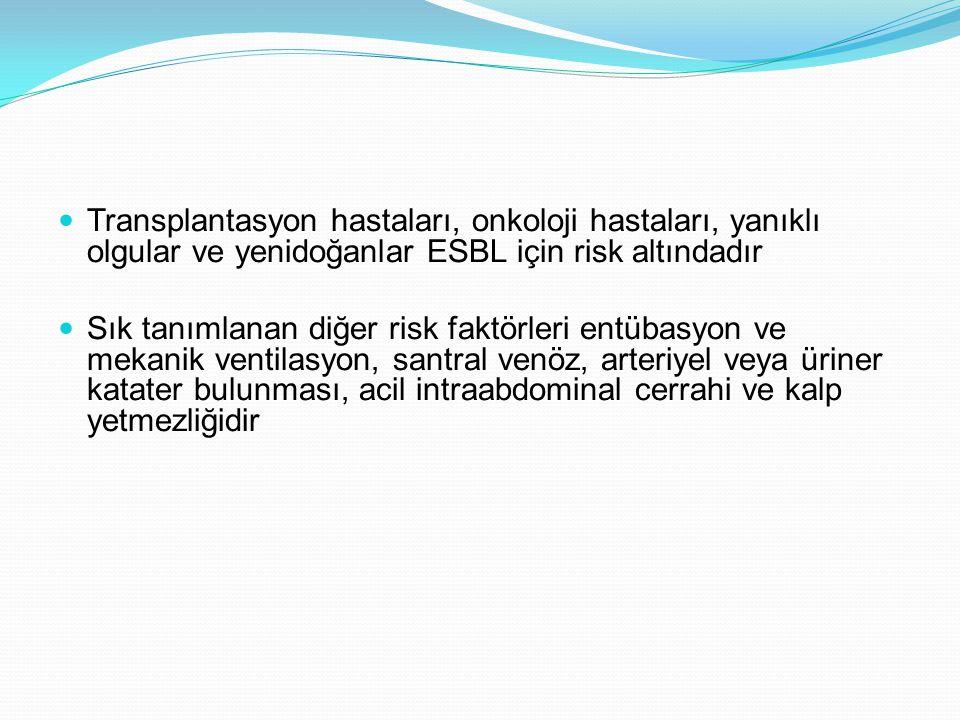 Transplantasyon hastaları, onkoloji hastaları, yanıklı olgular ve yenidoğanlar ESBL için risk altındadır Sık tanımlanan diğer risk faktörleri entübasyon ve mekanik ventilasyon, santral venöz, arteriyel veya üriner katater bulunması, acil intraabdominal cerrahi ve kalp yetmezliğidir
