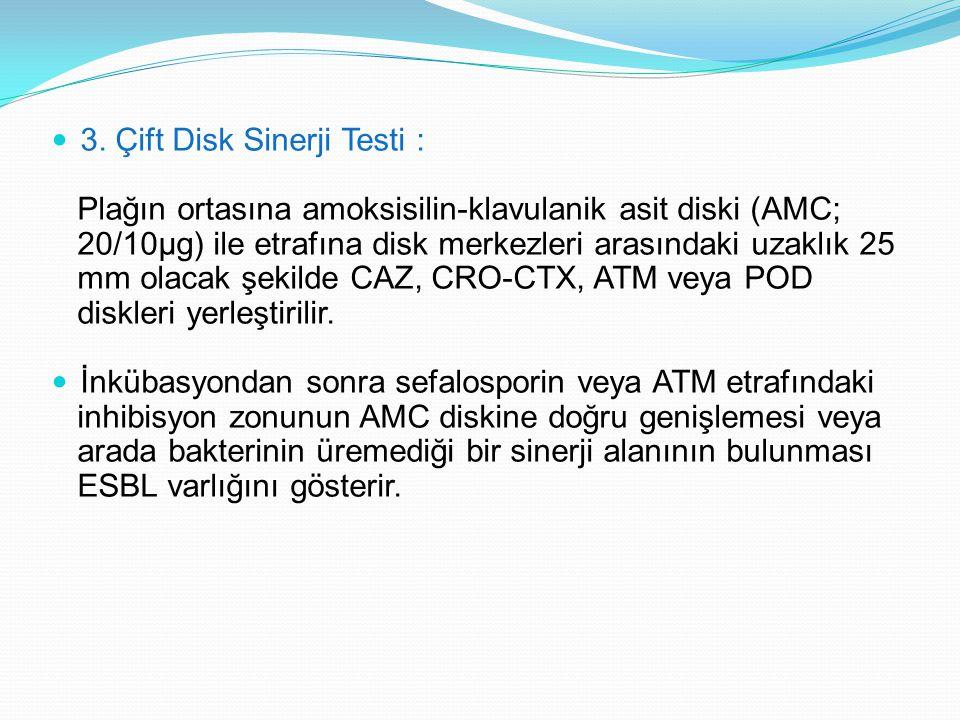 3. Çift Disk Sinerji Testi : Plağın ortasına amoksisilin-klavulanik asit diski (AMC; 20/10µg) ile etrafına disk merkezleri arasındaki uzaklık 25 mm ol