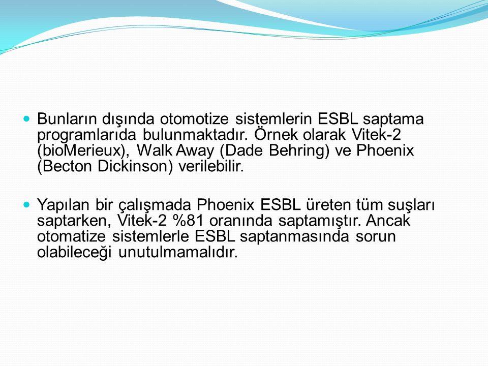Bunların dışında otomotize sistemlerin ESBL saptama programlarıda bulunmaktadır. Örnek olarak Vitek-2 (bioMerieux), Walk Away (Dade Behring) ve Phoeni