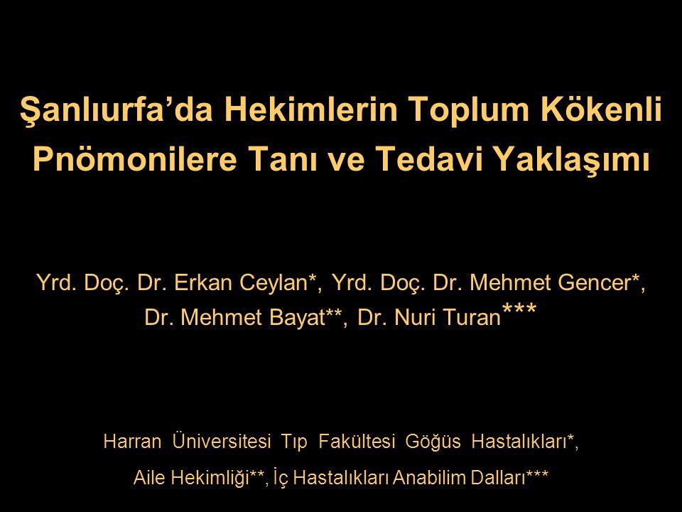 Şanlıurfa'da Hekimlerin Toplum Kökenli Pnömonilere Tanı ve Tedavi Yaklaşımı Yrd. Doç. Dr. Erkan Ceylan*, Yrd. Doç. Dr. Mehmet Gencer*, Dr. Mehmet Baya