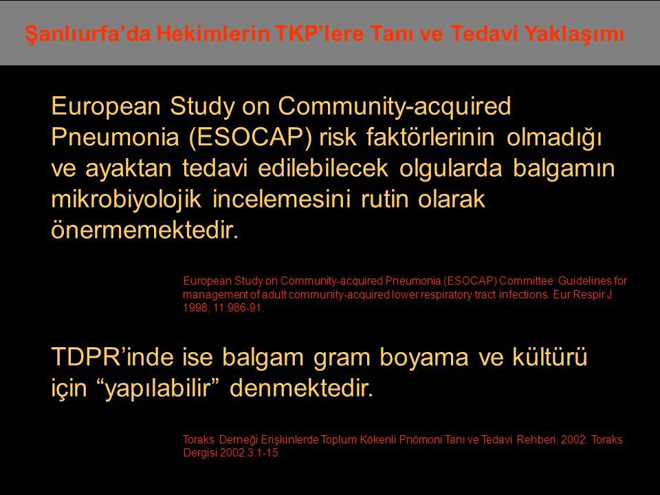 European Study on Community-acquired Pneumonia (ESOCAP) risk faktörlerinin olmadığı ve ayaktan tedavi edilebilecek olgularda balgamın mikrobiyolojik incelemesini rutin olarak önermemektedir.