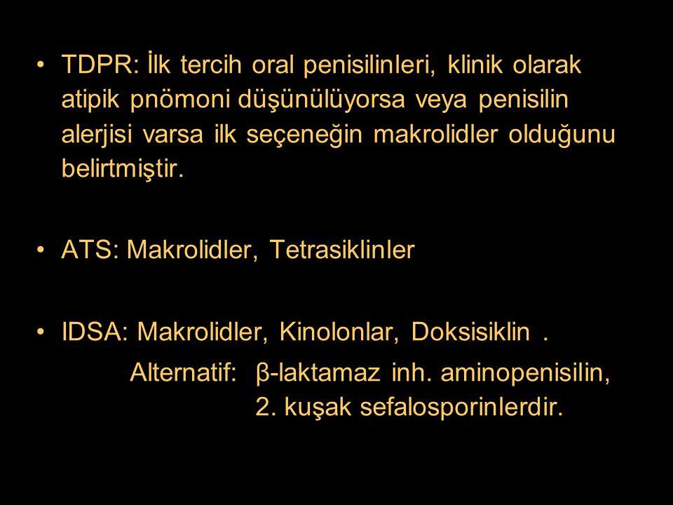 TDPR: İlk tercih oral penisilinleri, klinik olarak atipik pnömoni düşünülüyorsa veya penisilin alerjisi varsa ilk seçeneğin makrolidler olduğunu belirtmiştir.