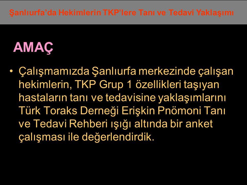 AMAÇ Çalışmamızda Şanlıurfa merkezinde çalışan hekimlerin, TKP Grup 1 özellikleri taşıyan hastaların tanı ve tedavisine yaklaşımlarını Türk Toraks Der