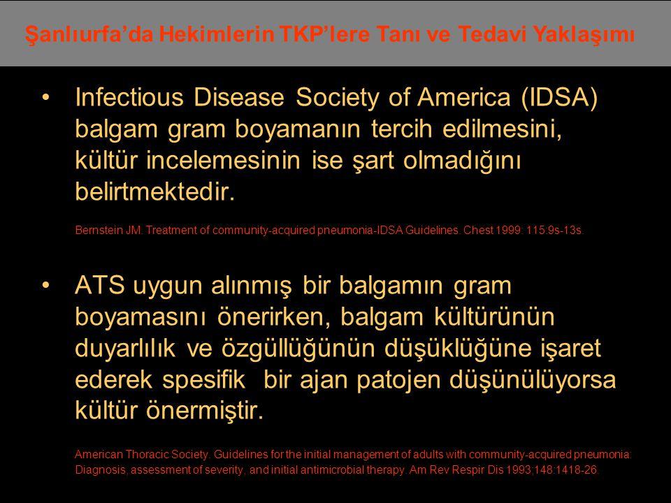 Infectious Disease Society of America (IDSA) balgam gram boyamanın tercih edilmesini, kültür incelemesinin ise şart olmadığını belirtmektedir.