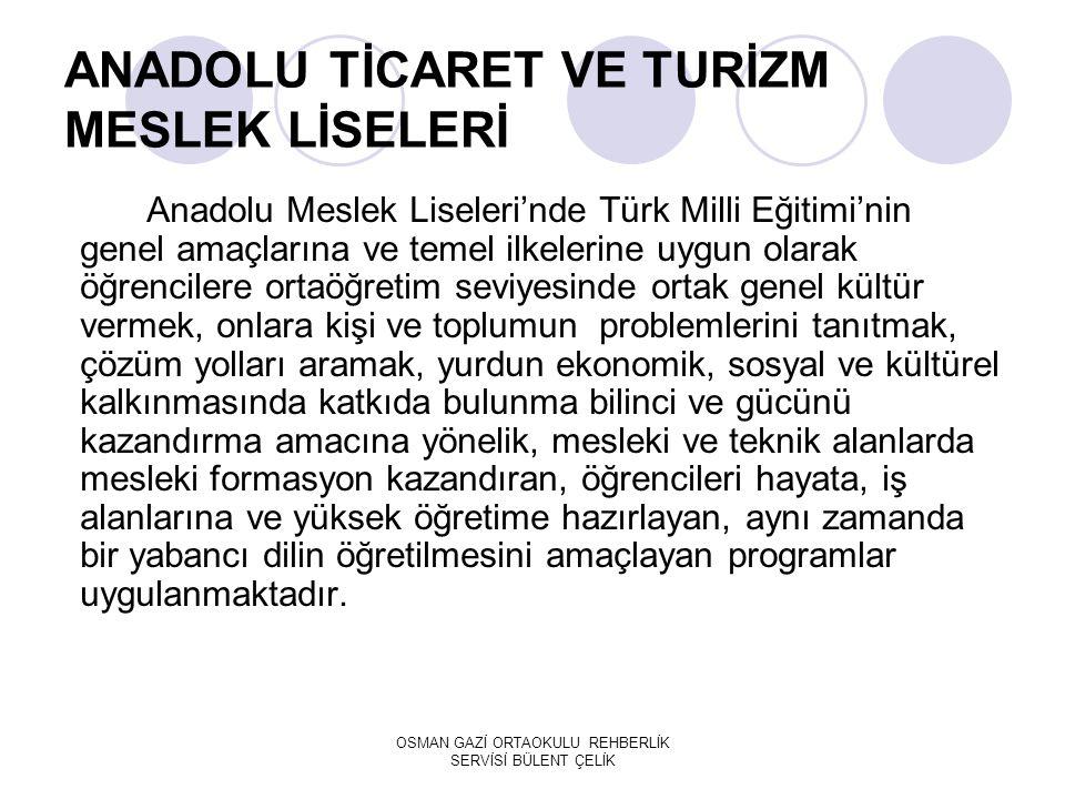ANADOLU TİCARET VE TURİZM MESLEK LİSELERİ Anadolu Meslek Liseleri'nde Türk Milli Eğitimi'nin genel amaçlarına ve temel ilkelerine uygun olarak öğrencilere ortaöğretim seviyesinde ortak genel kültür vermek, onlara kişi ve toplumun problemlerini tanıtmak, çözüm yolları aramak, yurdun ekonomik, sosyal ve kültürel kalkınmasında katkıda bulunma bilinci ve gücünü kazandırma amacına yönelik, mesleki ve teknik alanlarda mesleki formasyon kazandıran, öğrencileri hayata, iş alanlarına ve yüksek öğretime hazırlayan, aynı zamanda bir yabancı dilin öğretilmesini amaçlayan programlar uygulanmaktadır.