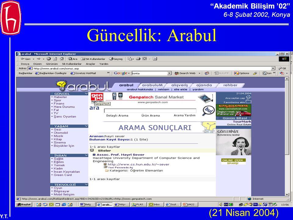 Akademik Bilişim '02 6-8 Şubat 2002, Konya Y.T. Güncellik: Arabul (21 Nisan 2004)