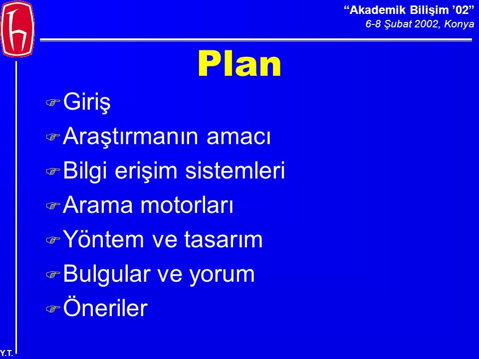 Akademik Bilişim '02 6-8 Şubat 2002, Konya Y.T. Soruların Formülasyonu