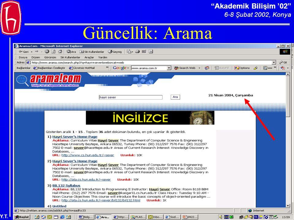 Akademik Bilişim '02 6-8 Şubat 2002, Konya Y.T. Güncellik: Arama