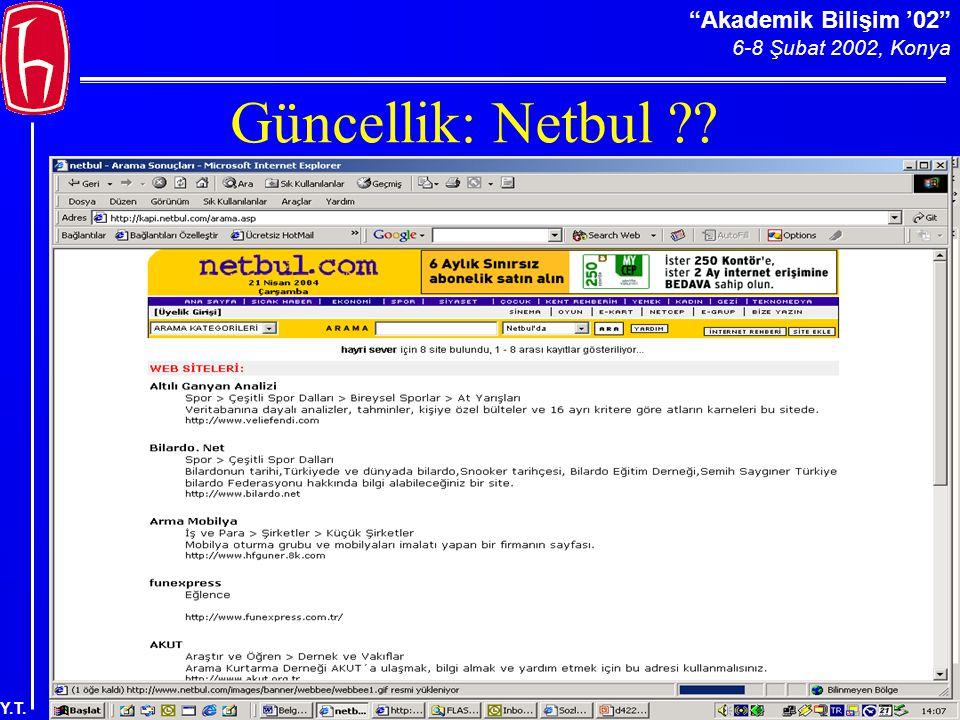 Akademik Bilişim '02 6-8 Şubat 2002, Konya Y.T. Güncellik: Netbul