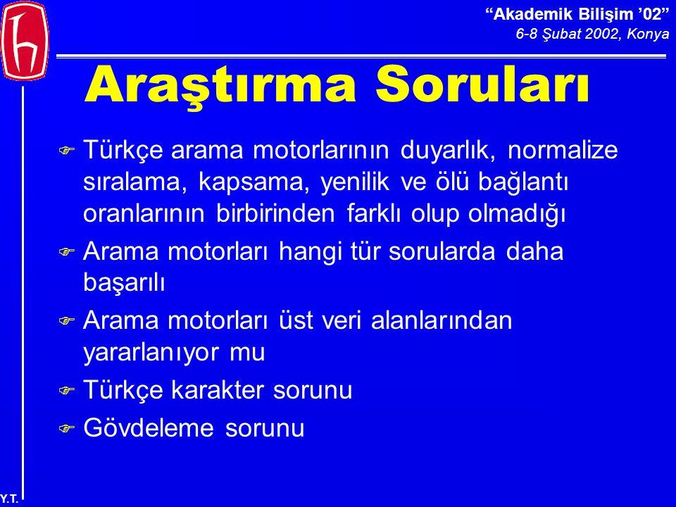 Akademik Bilişim '02 6-8 Şubat 2002, Konya Y.T.Sorulara Göre Arama Motorlarının Ort.
