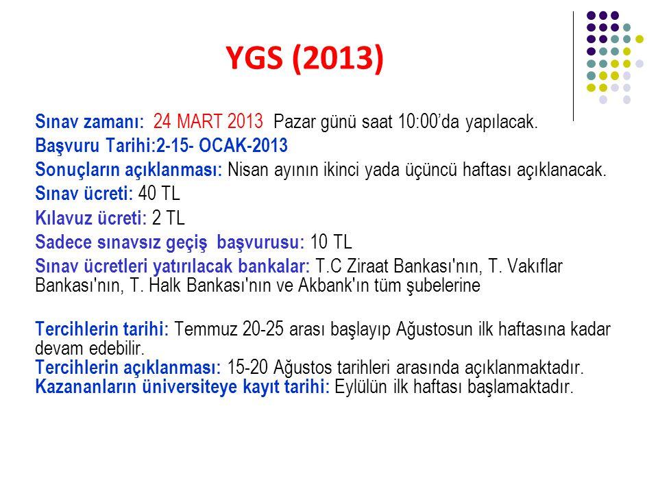 YGS (2013) Sınav zamanı: 24 MART 2013 Pazar günü saat 10:00'da yapılacak.