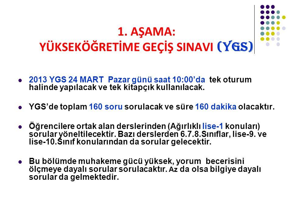 1. AŞAMA: YÜKSEKÖĞRETİME GEÇİŞ SINAVI (YGS) 2013 YGS 24 MART Pazar günü saat 10:00'da tek oturum halinde yapılacak ve tek kitapçık kullanılacak. YGS'd