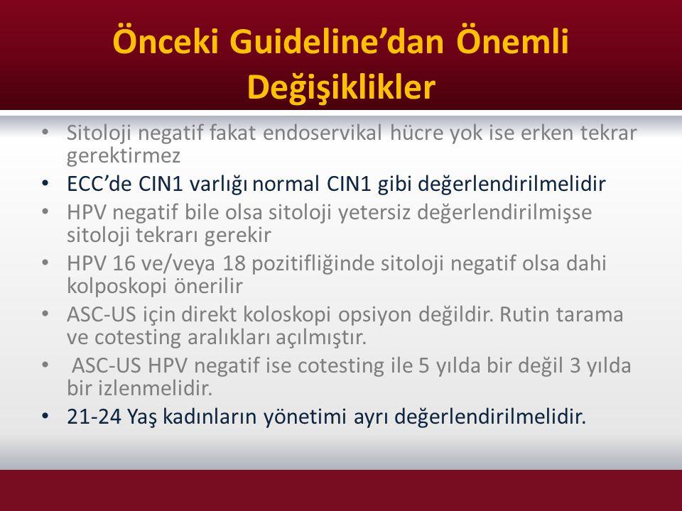 Önceki Guideline'dan Önemli Değişiklikler Sitoloji negatif fakat endoservikal hücre yok ise erken tekrar gerektirmez ECC'de CIN1 varlığı normal CIN1 g