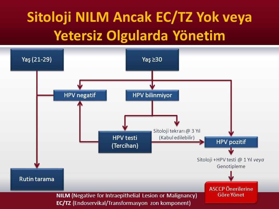 Sitoloji NILM Ancak EC/TZ Yok veya Yetersiz Olgularda Yönetim NILM (Negative for Intraepithelial Lesion or Malignancy) EC/TZ (Endoservikal/Transformas