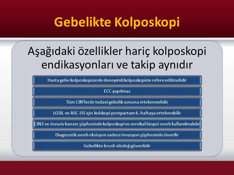 Gebelikte Kolposkopi Aşağıdaki özellikler hariç kolposkopi endikasyonları ve takip aynıdır Hasta gebe kolposkopisinde deneyimli kolposkopiste refere e