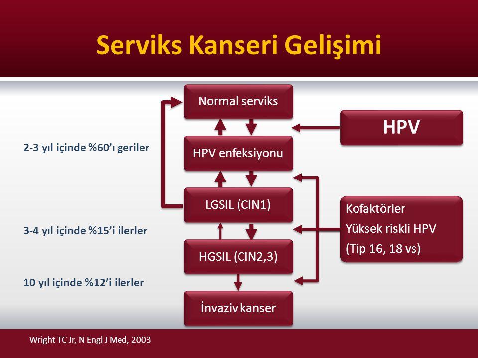Serviks Kanseri Gelişimi İnvaziv kanser 2-3 yıl içinde %60'ı geriler 3-4 yıl içinde %15'i ilerler 10 yıl içinde %12'i ilerler Normal serviks HPV enfek