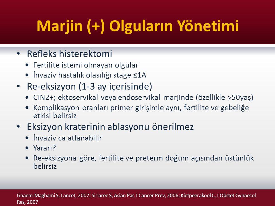 Marjin (+) Olguların Yönetimi Refleks histerektomi Fertilite istemi olmayan olgular İnvaziv hastalık olasılığı stage ≤1A Re-eksizyon (1-3 ay içerisind