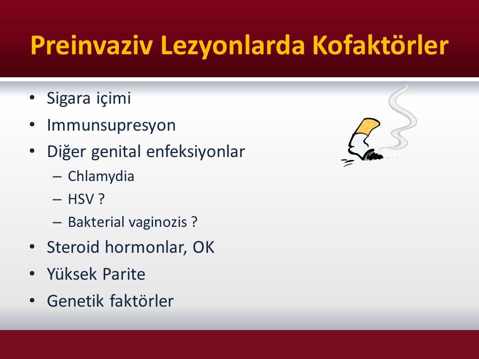 Preinvaziv Lezyonlarda Kofaktörler Sigara içimi Immunsupresyon Diğer genital enfeksiyonlar – Chlamydia – HSV ? – Bakterial vaginozis ? Steroid hormonl