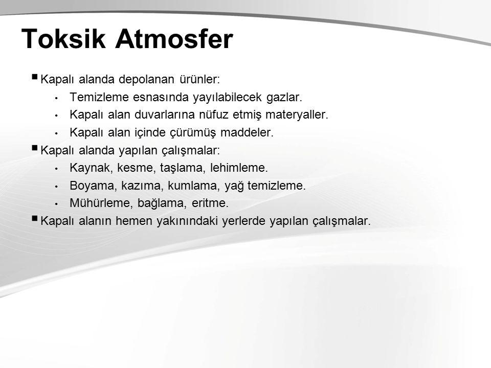 Toksik Atmosfer  Kapalı alanda depolanan ürünler: Temizleme esnasında yayılabilecek gazlar.