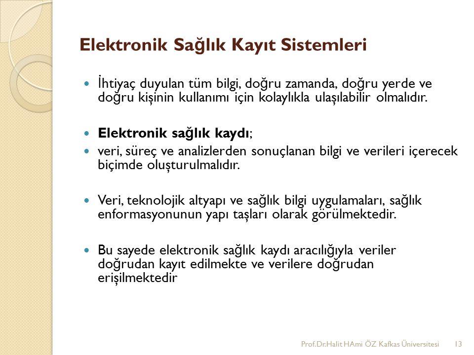 Elektronik Sa ğ lık Kayıt Sistemleri İ htiyaç duyulan tüm bilgi, do ğ ru zamanda, do ğ ru yerde ve do ğ ru kişinin kullanımı için kolaylıkla ulaşılabilir olmalıdır.