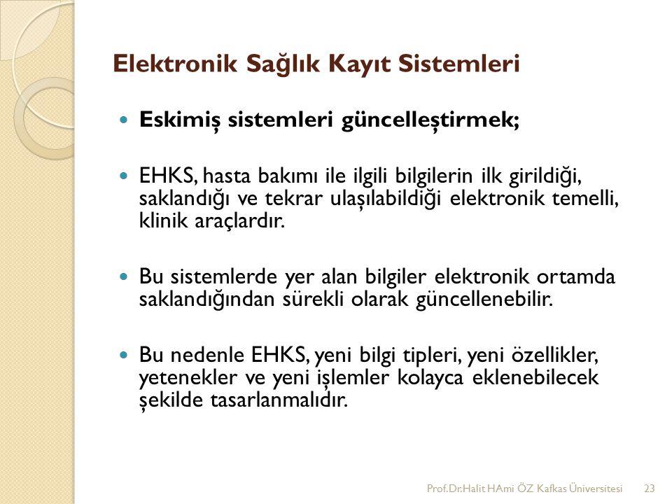 Elektronik Sa ğ lık Kayıt Sistemleri Eskimiş sistemleri güncelleştirmek; EHKS, hasta bakımı ile ilgili bilgilerin ilk girildi ğ i, saklandı ğ ı ve tekrar ulaşılabildi ğ i elektronik temelli, klinik araçlardır.