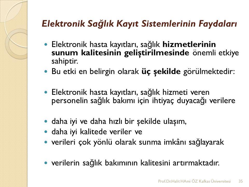Elektronik Sa ğ lık Kayıt Sistemlerinin Faydaları Elektronik hasta kayıtları, sa ğ lık hizmetlerinin sunum kalitesinin geliştirilmesinde önemli etkiye sahiptir.