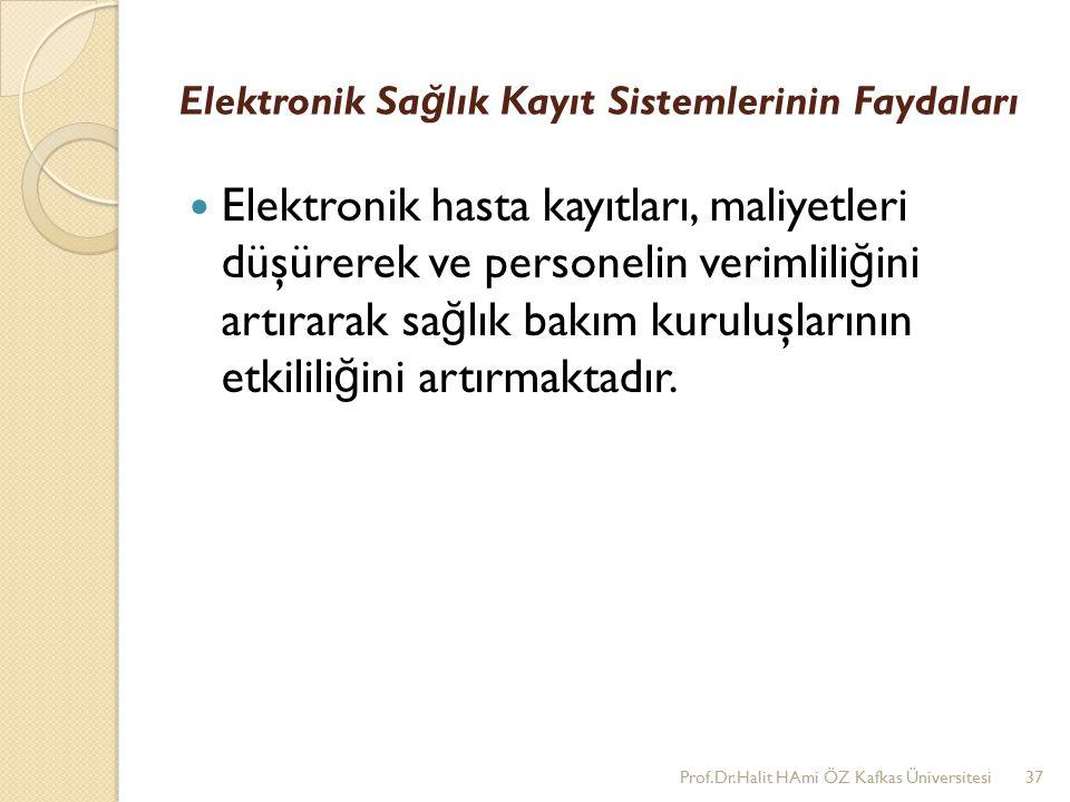 Elektronik Sa ğ lık Kayıt Sistemlerinin Faydaları Elektronik hasta kayıtları, maliyetleri düşürerek ve personelin verimlili ğ ini artırarak sa ğ lık bakım kuruluşlarının etkilili ğ ini artırmaktadır.