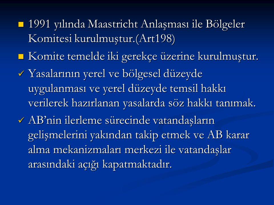 1991 yılında Maastricht Anlaşması ile Bölgeler Komitesi kurulmuştur.(Art198) 1991 yılında Maastricht Anlaşması ile Bölgeler Komitesi kurulmuştur.(Art1