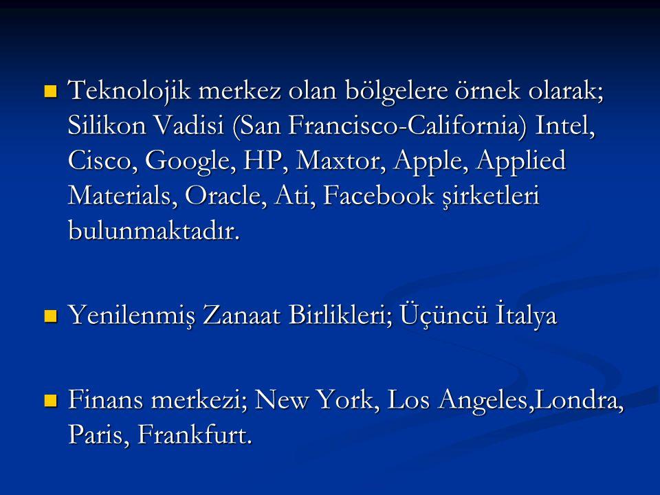 Teknolojik merkez olan bölgelere örnek olarak; Silikon Vadisi (San Francisco-California) Intel, Cisco, Google, HP, Maxtor, Apple, Applied Materials, Oracle, Ati, Facebook şirketleri bulunmaktadır.