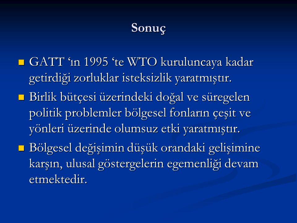 GATT 'ın 1995 'te WTO kuruluncaya kadar getirdiği zorluklar isteksizlik yaratmıştır.
