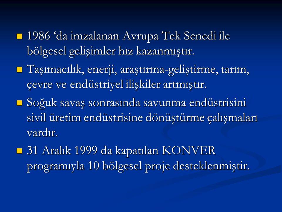 1986 'da imzalanan Avrupa Tek Senedi ile bölgesel gelişimler hız kazanmıştır.