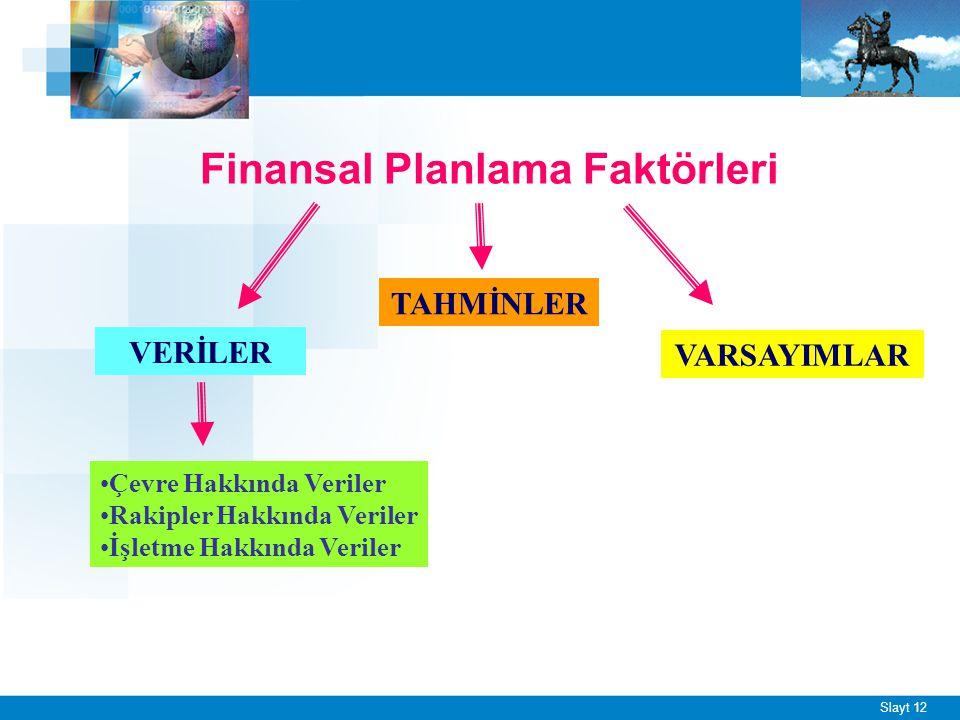 Slayt 12 Finansal Planlama Faktörleri VERİLER TAHMİNLER VARSAYIMLAR Çevre Hakkında Veriler Rakipler Hakkında Veriler İşletme Hakkında Veriler