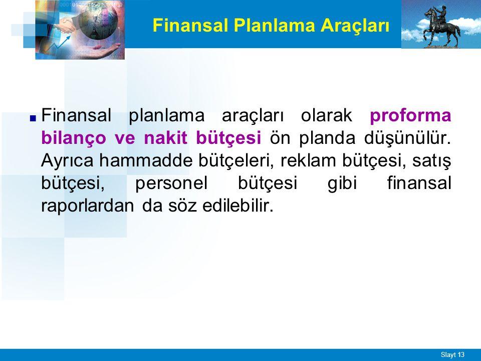 Slayt 13 Finansal Planlama Araçları ■ Finansal planlama araçları olarak proforma bilanço ve nakit bütçesi ön planda düşünülür. Ayrıca hammadde bütçele