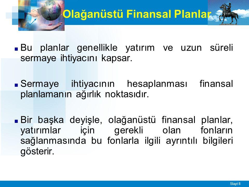 Slayt 9 Özel Finansal Planlar ■ İşletmelerin kurulmaları, genişletilmeleri, birleşmeleri, sağlamlaştırmaları ve tasfiye edilmeleri durumunda yapılan planlardır.