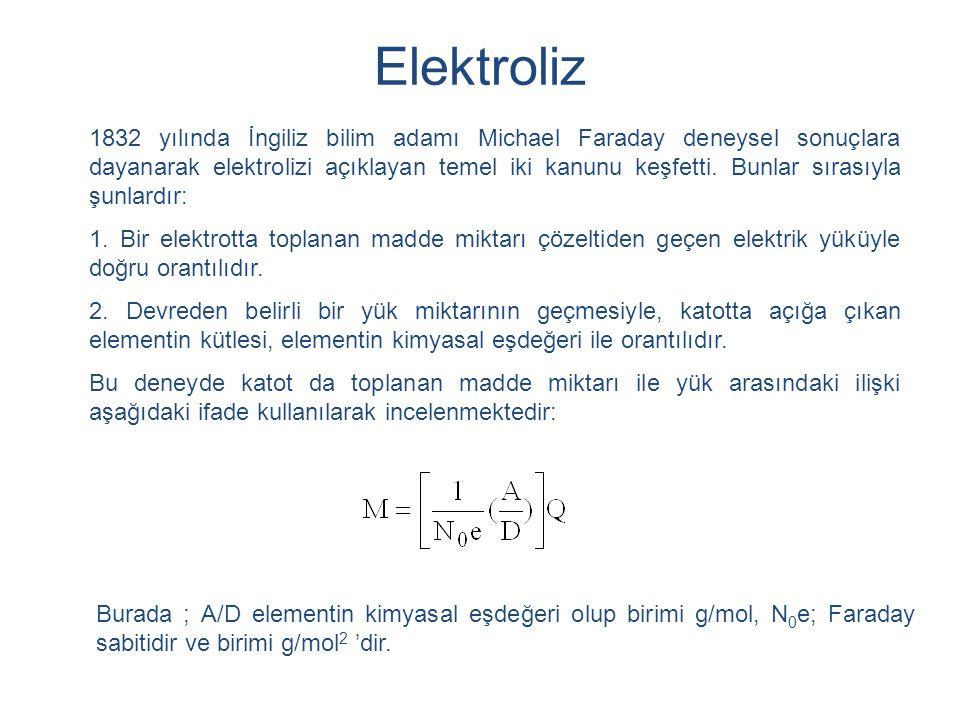 1832 yılında İngiliz bilim adamı Michael Faraday deneysel sonuçlara dayanarak elektrolizi açıklayan temel iki kanunu keşfetti. Bunlar sırasıyla şunlar