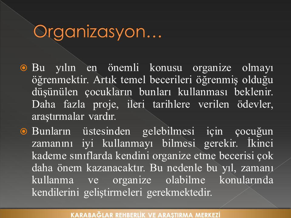  Bu yılın en önemli konusu organize olmayı öğrenmektir.