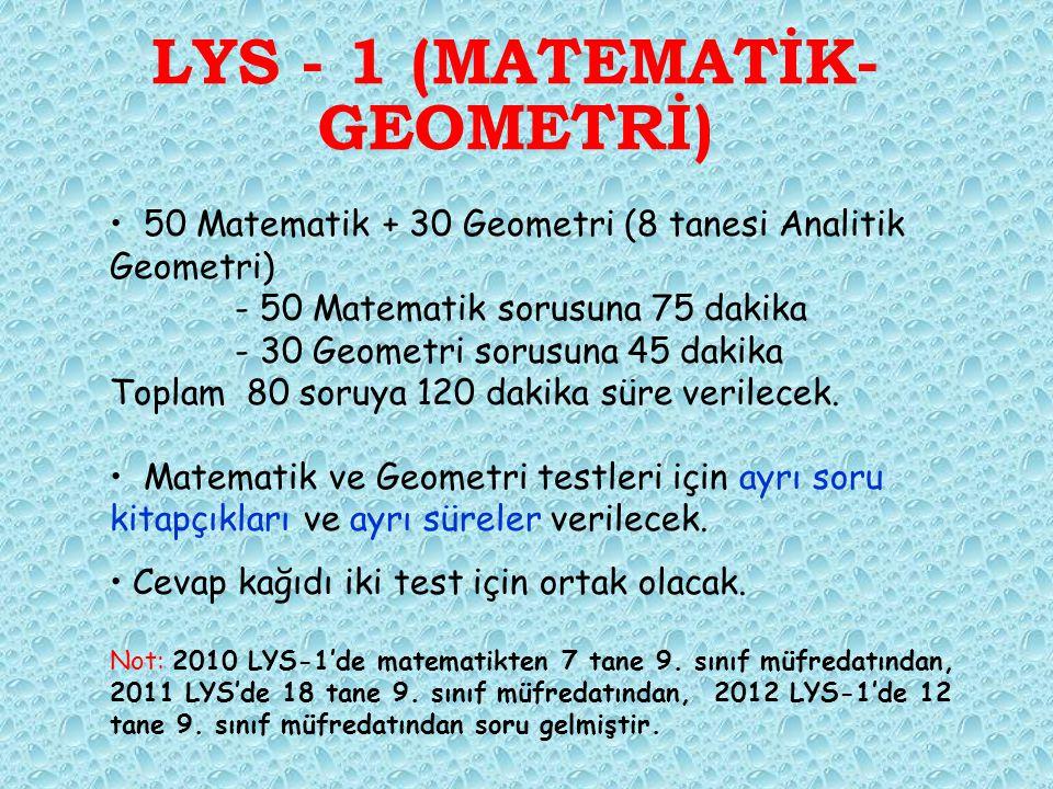 LYS - 1 (MATEMATİK- GEOMETRİ) 50 Matematik + 30 Geometri (8 tanesi Analitik Geometri) - 50 Matematik sorusuna 75 dakika - 30 Geometri sorusuna 45 dakika Toplam 80 soruya 120 dakika süre verilecek.