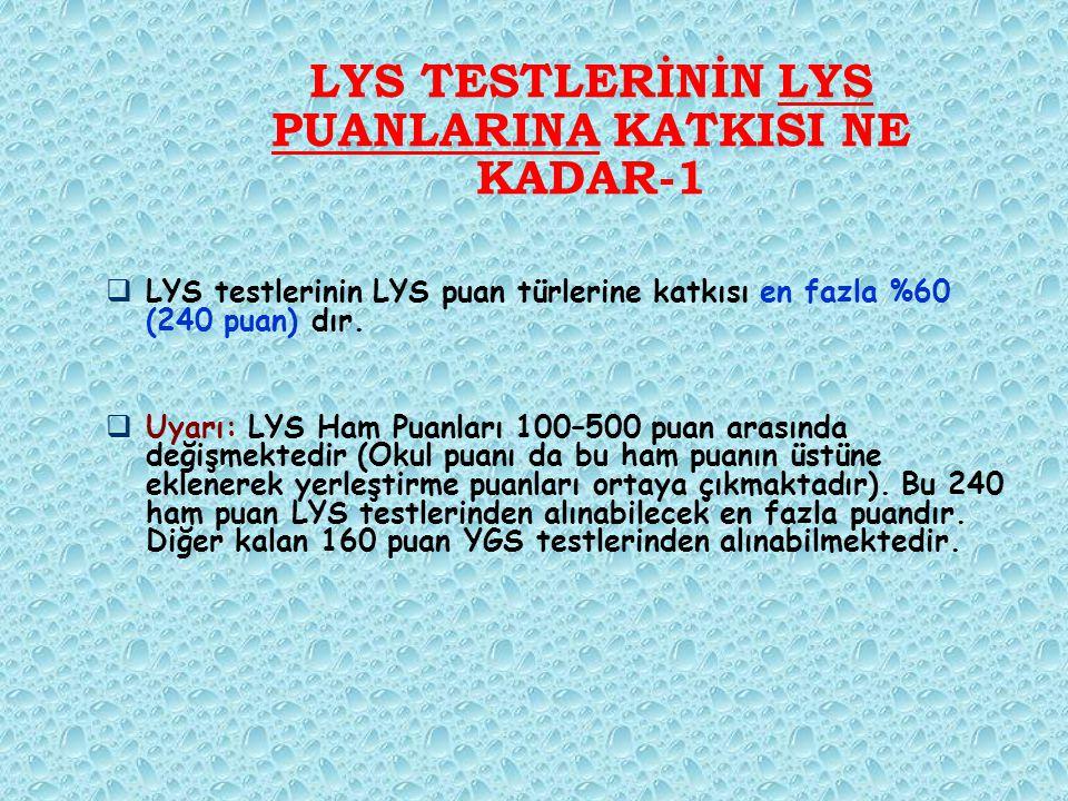 LYS TESTLERİNİN LYS PUANLARINA KATKISI NE KADAR-1  LYS testlerinin LYS puan türlerine katkısı en fazla %60 (240 puan) dır.