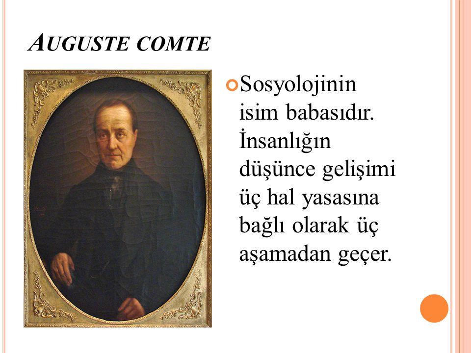 A UGUSTE COMTE Sosyolojinin isim babasıdır. İnsanlığın düşünce gelişimi üç hal yasasına bağlı olarak üç aşamadan geçer.