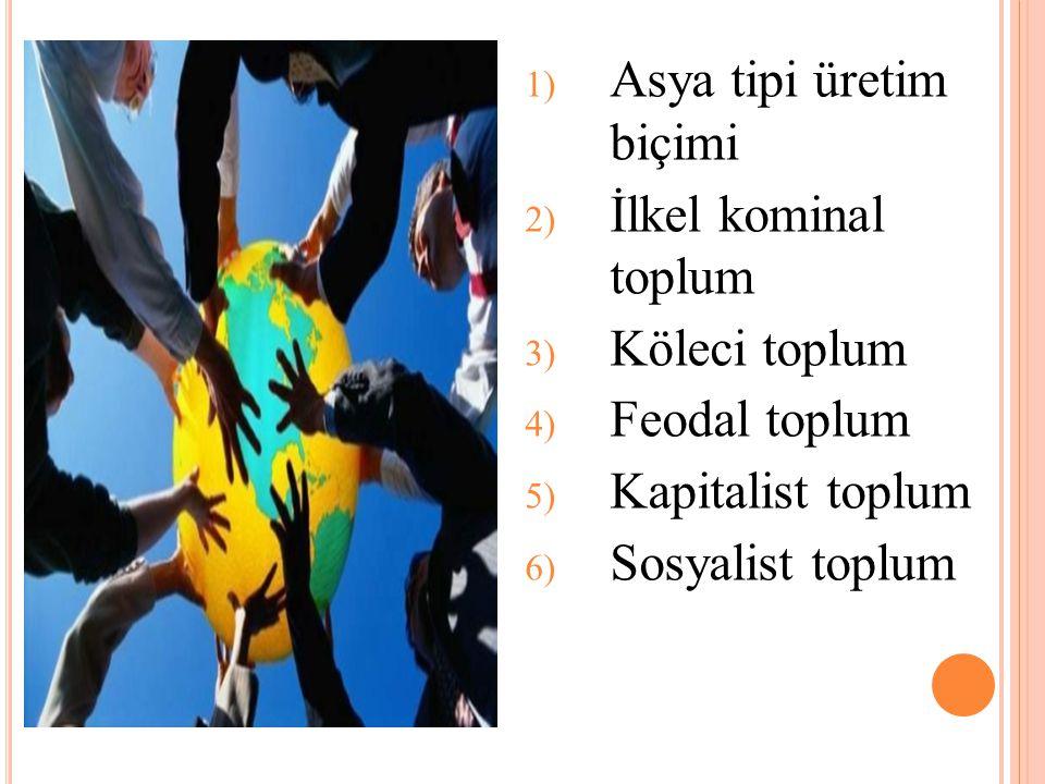 1) Asya tipi üretim biçimi 2) İlkel kominal toplum 3) Köleci toplum 4) Feodal toplum 5) Kapitalist toplum 6) Sosyalist toplum