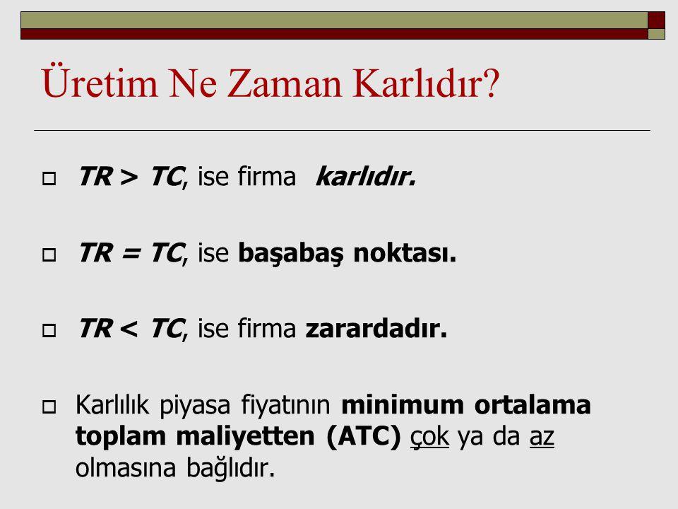 Üretim Ne Zaman Karlıdır?  TR > TC, ise firma karlıdır.  TR = TC, ise başabaş noktası.  TR < TC, ise firma zarardadır.  Karlılık piyasa fiyatının