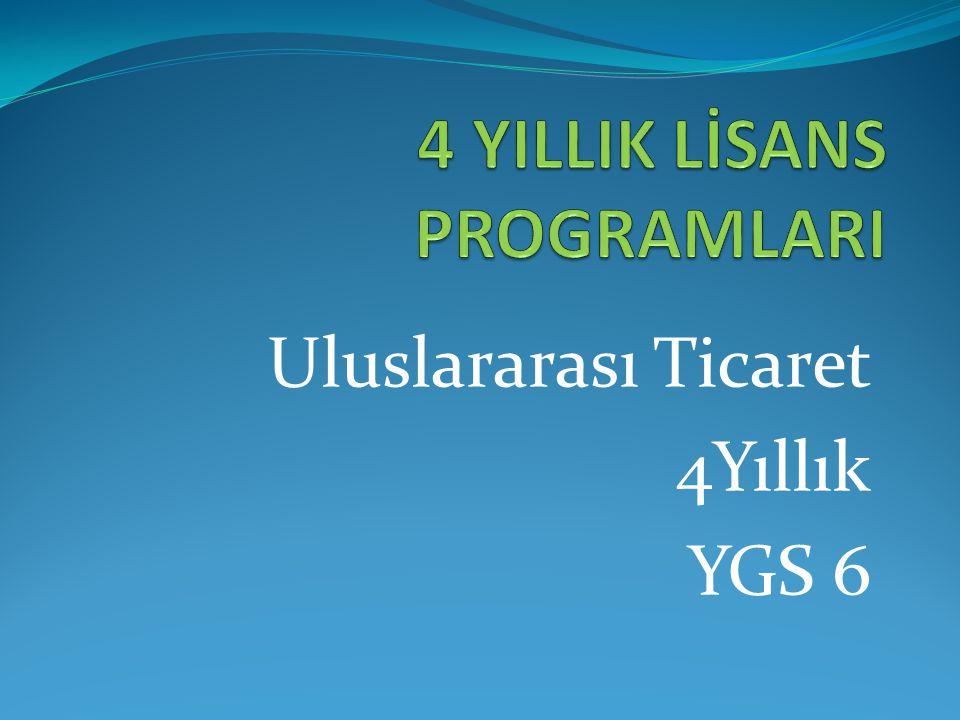 Uluslararası Ticaret 4Yıllık YGS 6