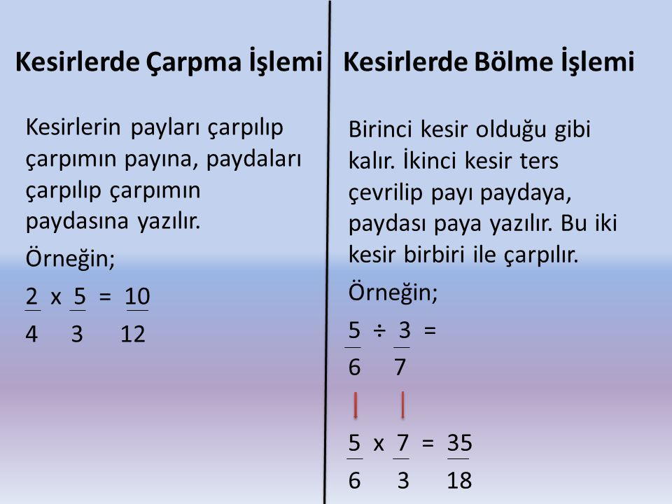 Kesirlerde Çarpma İşlemi Kesirlerin payları çarpılıp çarpımın payına, paydaları çarpılıp çarpımın paydasına yazılır. Örneğin; 2 x 5 = 10 4 3 12 Kesirl
