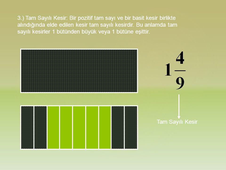 3.) Tam Sayılı Kesir: Bir pozitif tam sayı ve bir basit kesir birlikte alındığında elde edilen kesir tam sayılı kesirdir. Bu anlamda tam sayılı kesirl