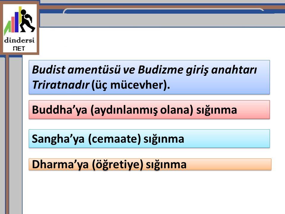 Dharma'ya (öğretiye) sığınma Budist amentüsü ve Budizme giriş anahtarı Triratnadır (üç mücevher). Buddha'ya (aydınlanmış olana) sığınma Sangha'ya (cem
