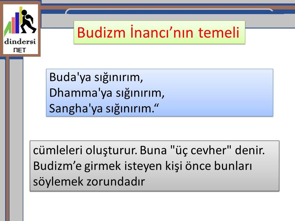 "Buda'ya sığınırım, Dhamma'ya sığınırım, Sangha'ya sığınırım."" cümleleri oluşturur. Buna"