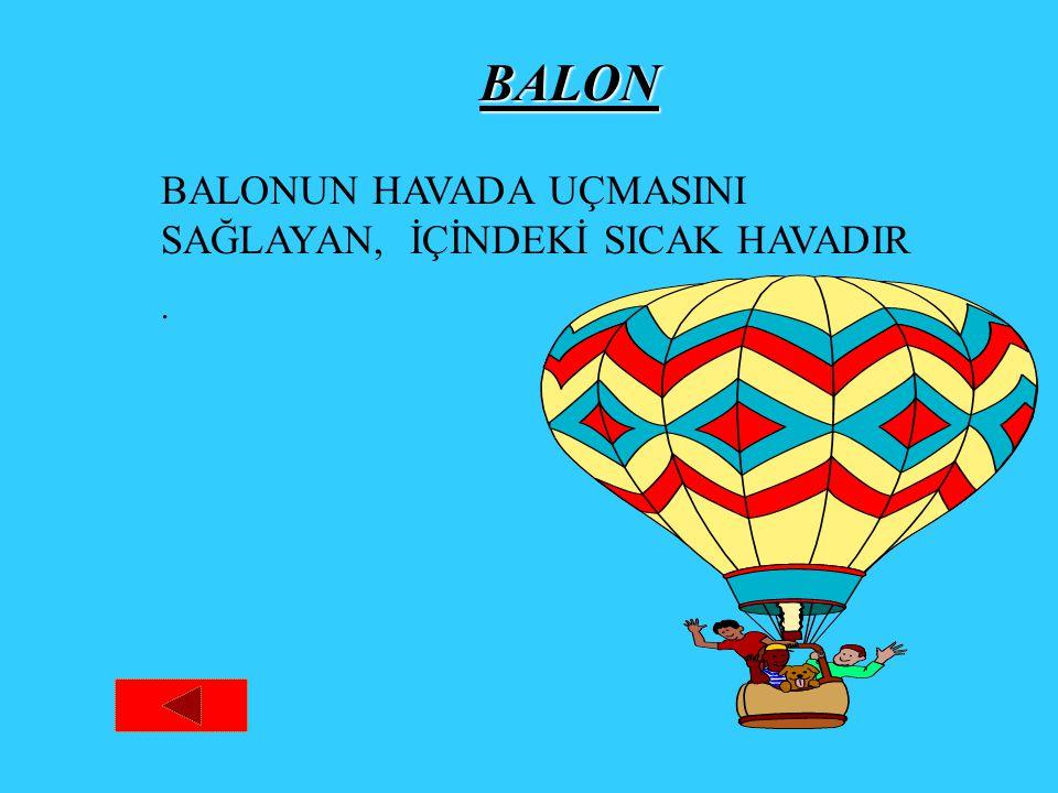 BALON BALONUN HAVADA UÇMASINI SAĞLAYAN, İÇİNDEKİ SICAK HAVADIR.